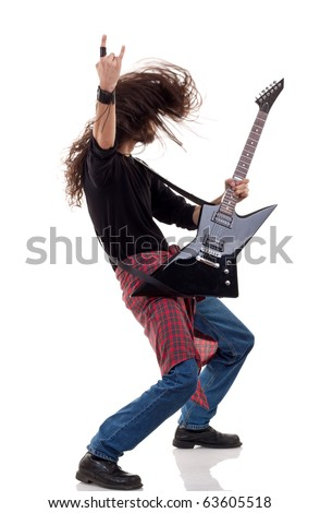 headbanging rocker plays guitar over white background - stock photo