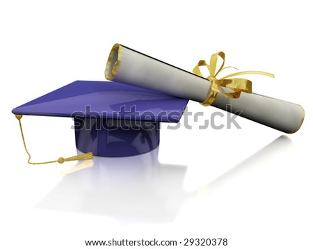 Headdress of the bachelor with diploma on mirror plane - stock photo