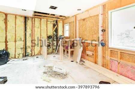 Header and framing for new window openings and shower stall bench and pony walls - stock photo