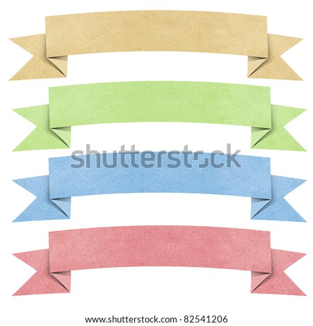 Header origami tag recycled paper craft stick on white background - stock photo