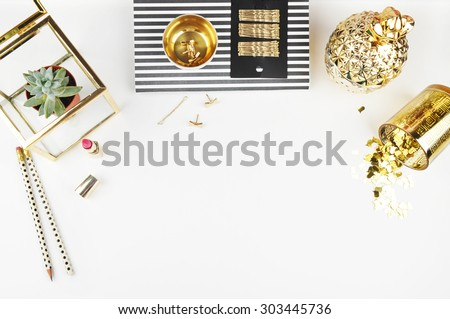 Header website or Hero website, Mockup product view table gold accessories. Flat lay - stock photo