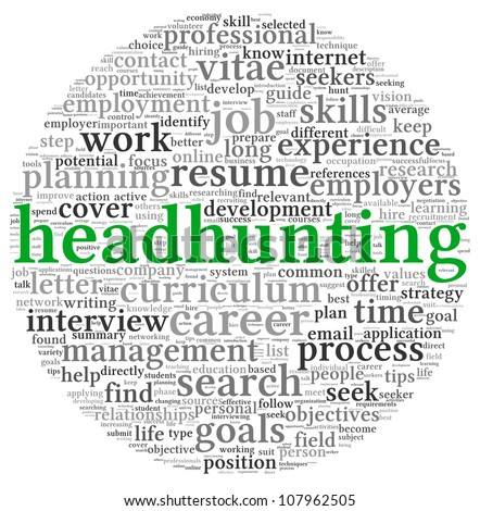 Headhunting concept in word tag cloud on white background