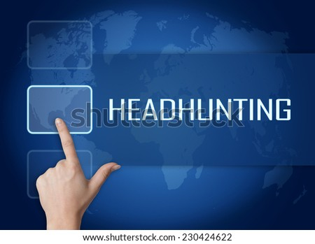 Headhunting concept with interface and world map on blue background - stock photo