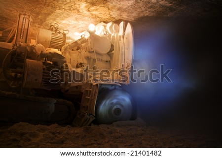 heading machine wit rotating cutter - stock photo