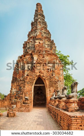 Headless Buddha's statues in Wat Chaiwatthanaram. Ayutthaya historical park.  - stock photo