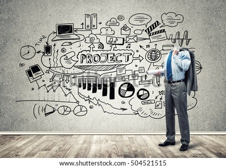 Headless Royalty Free Stock Music  >> Headless Engineer Man Papers Hand Against Stock Photo Image