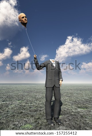 Headless Man with Floating Head Balloon - stock photo