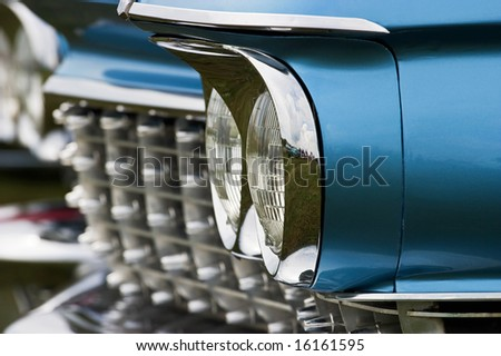Headlight on a automobile from the fifties - stock photo