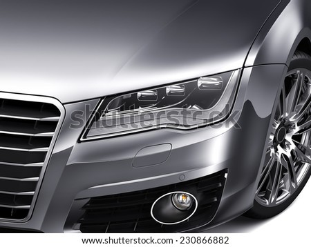 Headlights and hood of luxury silver car - stock photo