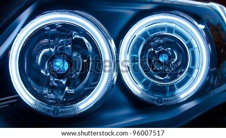 Headlights of a Car - stock photo
