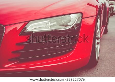 Headlights sport car - stock photo