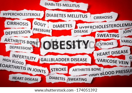 Headlines obesity, heart disease, High blood pressure, diabetes, gout etc - stock photo