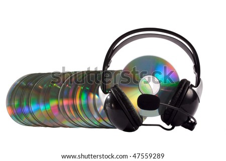 Headphone and cd collection as a caterpillar isolated on white background