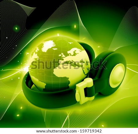 Headphone and globe on abstract background. - stock photo