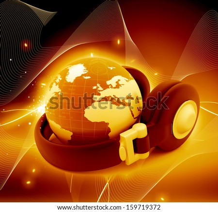 Headphone and globe on abstract background.