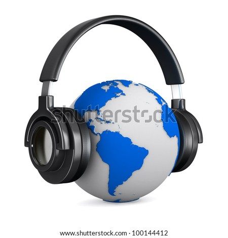 Headphone and globe on white background. Isolated 3D image - stock photo