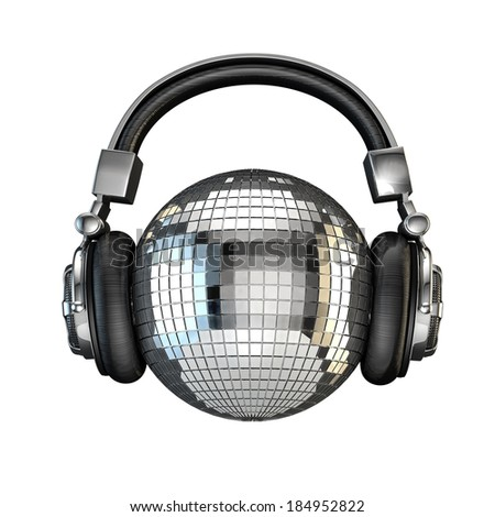 Headphone disco ball - stock photo