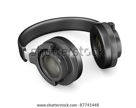 Headphone on white background. Isolated 3D image - stock photo