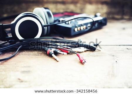 Headphones and DJ equipment/ selective focus - stock photo