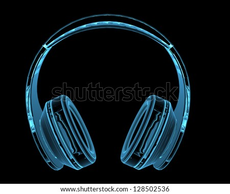 Headphones (3D x-ray blue transparent isolated on black) - stock photo