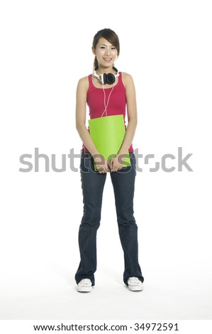 Headphones girl holding notebook - stock photo
