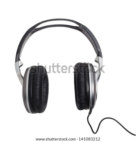 headphones head audio music wire classic stereo equipment cable phones accessory isolated clipping path - stock photo