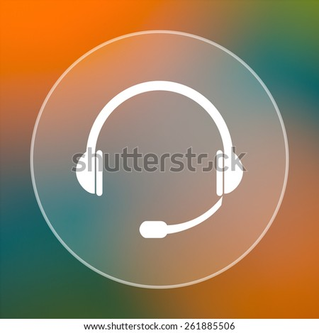 Headphones icon. Internet button on colored  background.  - stock photo