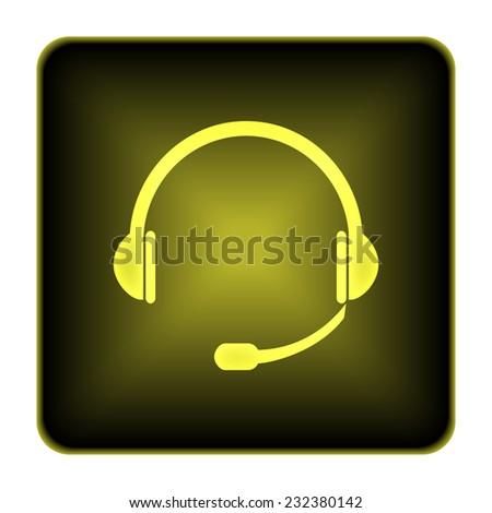 Headphones icon. Internet button on white background.  - stock photo