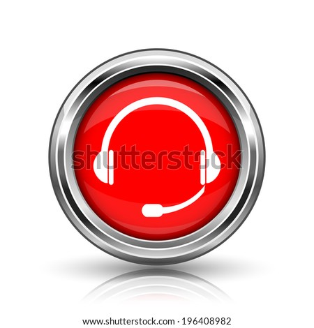 Headphones icon. Shiny glossy internet button on white background.