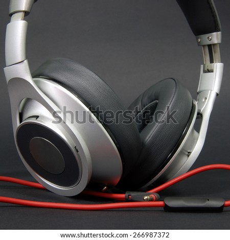 Headphones in black background - stock photo