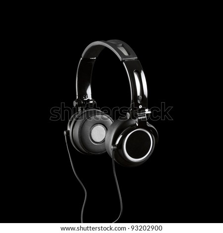 Headphones Isolated on a Black Background - stock photo