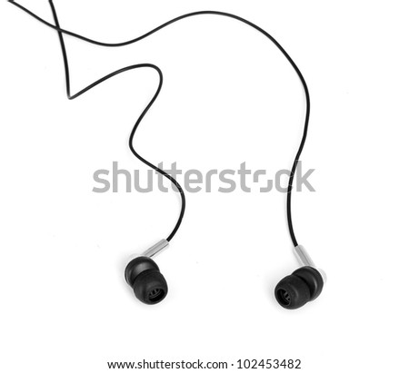 Headphones isolated on white - stock photo