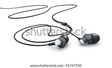Headphones isolated on white 3d model - stock photo