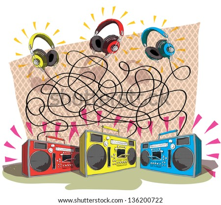 Headphones Maze Game for children. Hand drawn illustration. Task: Match each headphone with tape recorder!  Answer: yellow to blue, red to yellow, blue to red. (for vector see image 102269860) - stock photo