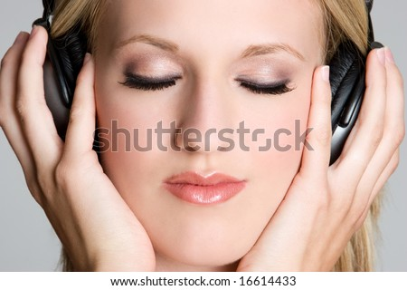 Headphones Music Girl - stock photo