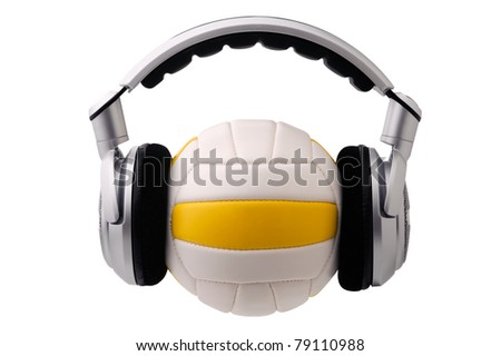 Headphones on a volleyball ball, sport and music concept - stock photo