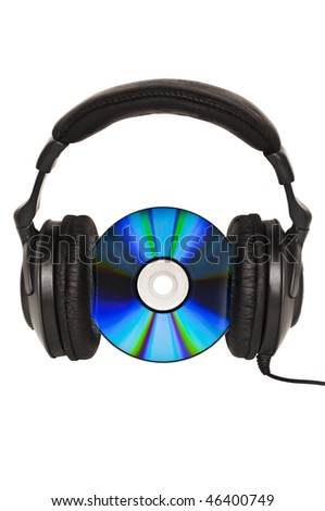 Headphones with CD - Music concept - stock photo