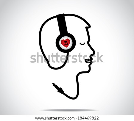headphones with love music symbol and its chord shaped in the form of a young man listening to and enjoying musical songs with closed eyes : concept design illustration artwork - stock photo