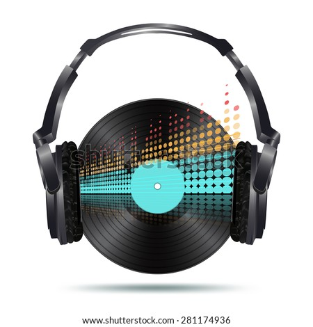 headphones with vinyl disk and equalizer - stock photo