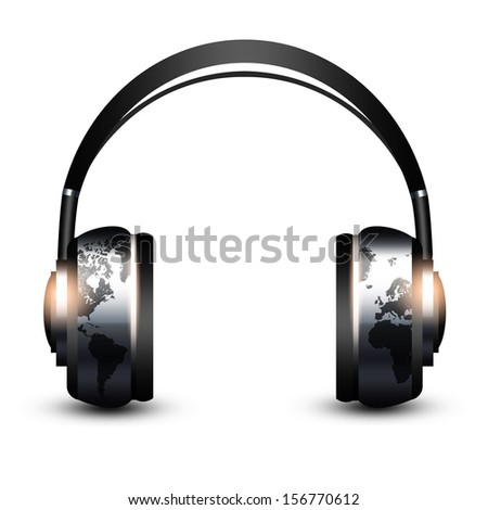headphones with world map isolated over white background - stock photo
