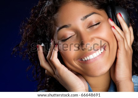 Headphones woman listening to music
