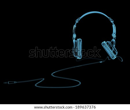 Headphones x-ray blue transparent isolated on black - stock photo