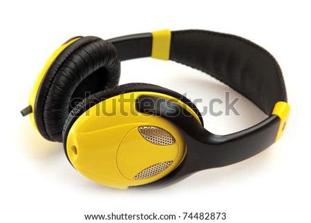 Headphones yellow isolated on a white background. - stock photo
