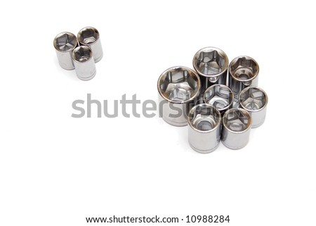 heads from spanner on the white isolated background