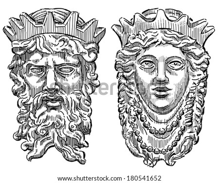 heads of the mythological king and queen