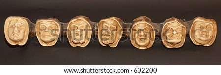 Heads symbolizing the seven deadly sins - stock photo
