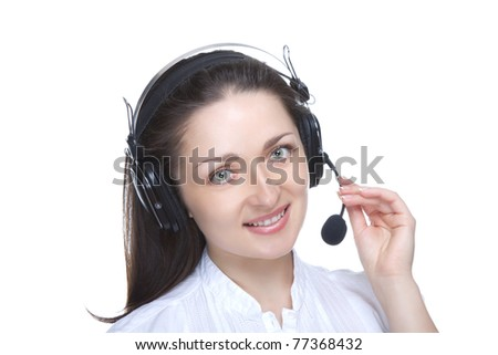 Headset. Customer service operator woman with headset smiling looking at camera. Beautiful attractive caucasian call center woman isolated on white background.