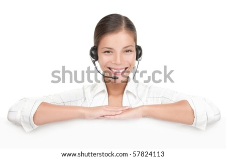 Headset customer service woman showing blank billboard sign isolated on white background. Mixed race young Chinese Asian  / Caucasian woman. - stock photo