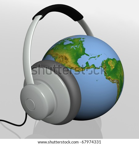 headset on world globe in isolated background