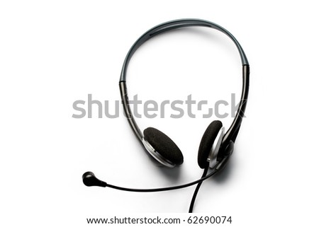 Headset with a microphone isolated on white - stock photo